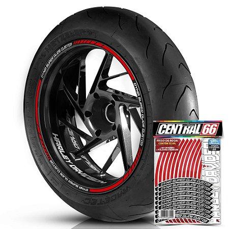 Adesivo Friso de Roda M1 +  Palavra DYNA SUPER GLIDE CUSTOM + Interno P Harley Davidson - Filete Vermelho Refletivo