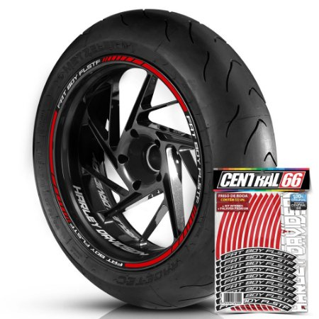 Adesivo Friso de Roda M1 +  Palavra FAT BOY FLSTF + Interno P Harley Davidson - Filete Vermelho Refletivo