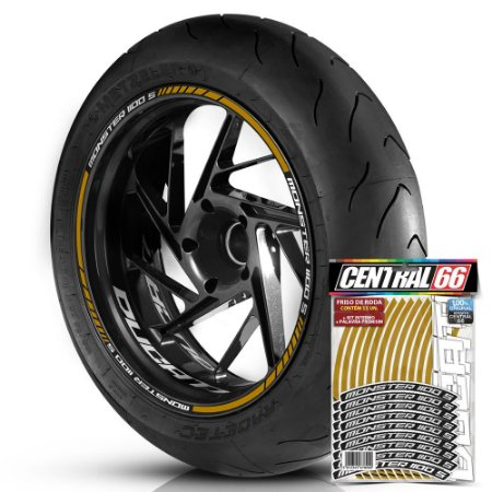 Adesivo Friso de Roda M1 +  Palavra MONSTER 1100 S + Interno P Ducati - Filete Dourado Refletivo