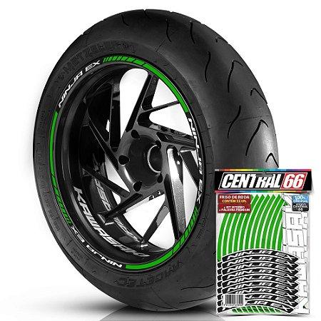 Adesivo Friso de Roda M1 +  Palavra NINJA EX + Interno P Kawasaki - Filete Verde Refletivo