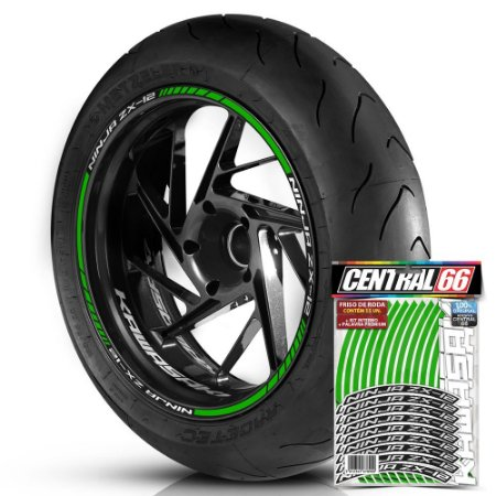Adesivo Friso de Roda M1 +  Palavra NINJA ZX-12 + Interno P Kawasaki - Filete Verde Refletivo