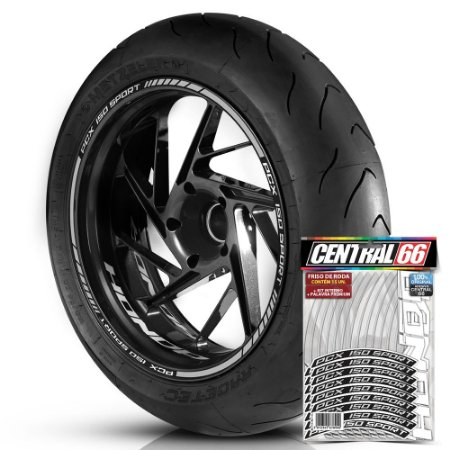 Adesivo Friso de Roda M1 +  Palavra PCX 150 SPORT + Interno P Honda - Filete Prata Refletivo