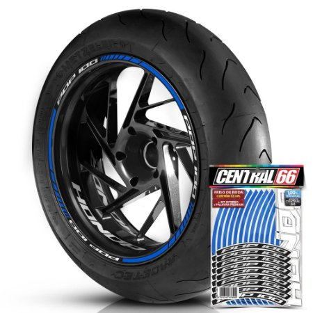 Adesivo Friso de Roda M1 +  Palavra POP 100 + Interno P Honda - Filete Azul Refletivo
