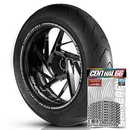 Adesivo Friso de Roda M1 +  Palavra RACING + Interno P Shineray - Filete Prata Refletivo