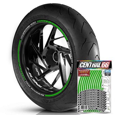 Adesivo Friso de Roda M1 +  Palavra SHADOW 1100 + Interno P Honda - Filete Verde Refletivo