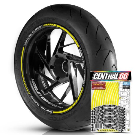 Adesivo Friso de Roda M1 +  Palavra SOFTAIL CLASSIC + Interno P Harley Davidson - Filete Amarelo