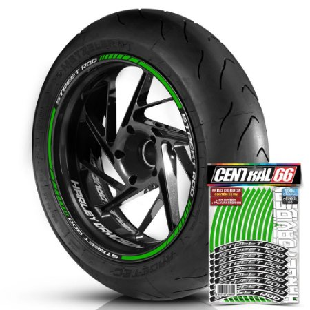 Adesivo Friso de Roda M1 +  Palavra STREET ROD + Interno P Harley Davidson - Filete Verde Refletivo