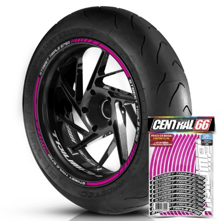 Adesivo Friso de Roda M1 +  Palavra STREET TRIPLE 675 R + Interno P Triumph - Filete Rosa