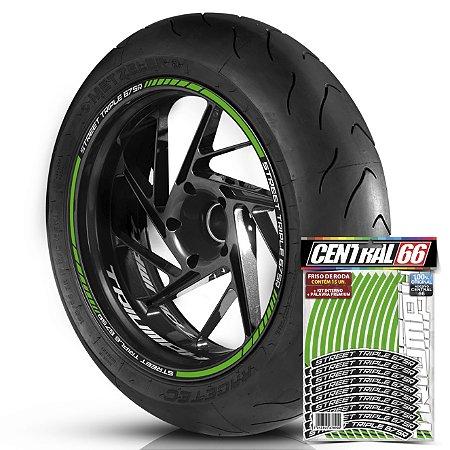 Adesivo Friso de Roda M1 +  Palavra STREET TRIPLE 675 R + Interno P Triumph - Filete Verde Refletivo