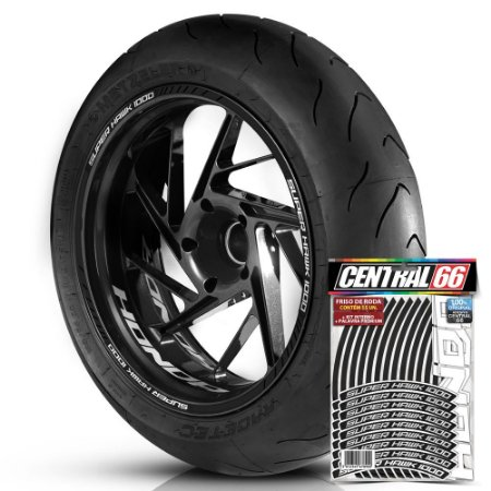 Adesivo Friso de Roda M1 +  Palavra SUPER HAWK 1000 + Interno P Honda - Filete Preto