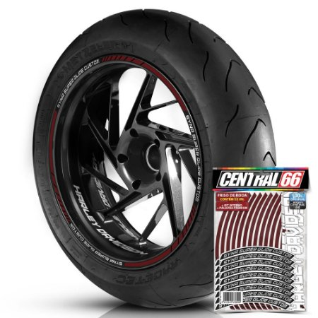 Adesivo Friso de Roda M1 +  Palavra SYNA SUPER GLIDE CUSTOM + Interno P Harley Davidson - Filete Vinho