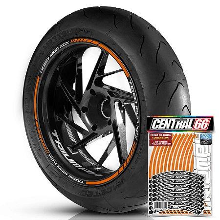 Adesivo Friso de Roda M1 +  Palavra TIGER 1200 XCX + Interno P Triumph - Filete Laranja Refletivo