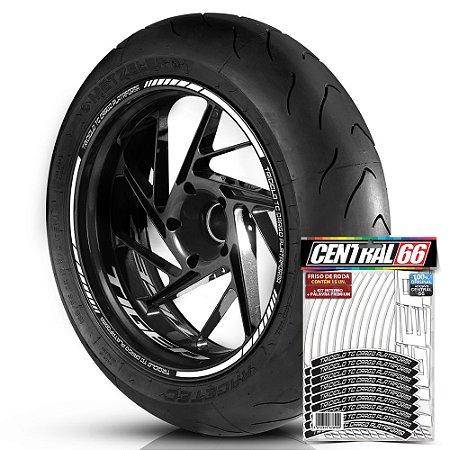 Adesivo Friso de Roda M1 +  Palavra Tiger TRICICLO TC CARGO PLATAFORMA + Interno P Triumph - Filete Branco