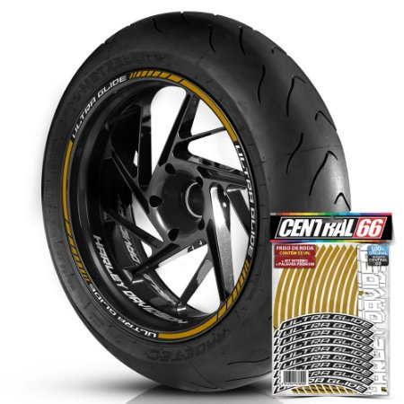 Adesivo Friso de Roda M1 +  Palavra ULTRA GLIDE + Interno P Harley Davidson - Filete Dourado Refletivo