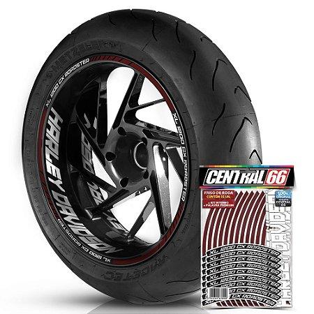 Adesivo Friso de Roda M1 +  Palavra XL 1200 CX ROADSTER + Interno G Harley Davidson - Filete Vinho
