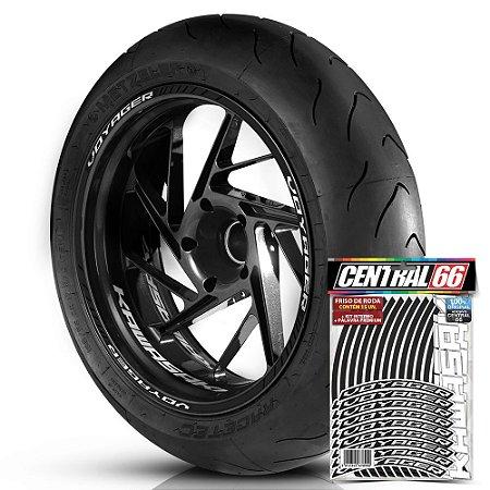 Adesivo Friso de Roda M1 +  Palavra VOYAGER + Interno P Kawasaki - Filete Preto