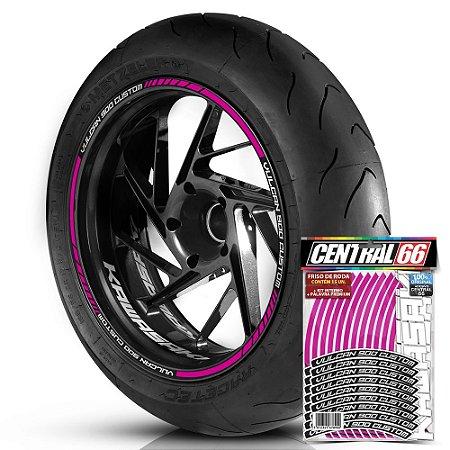 Adesivo Friso de Roda M1 +  Palavra VULCAN 900 CUSTOM + Interno P Kawasaki - Filete Rosa