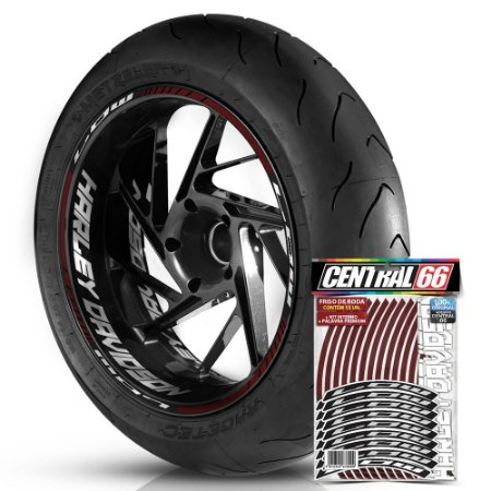 Adesivo Friso de Roda M1 +  Palavra LOW + Interno G Harley Davidson - Filete Vinho