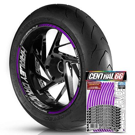 Adesivo Friso de Roda M1 +  Palavra SWITCHBACK FLD + Interno G Harley Davidson - Filete Roxo