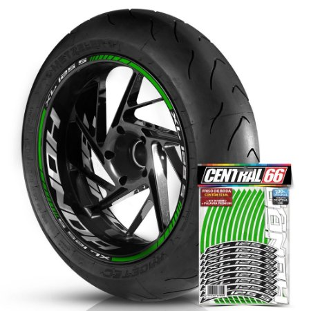 Adesivo Friso de Roda M1 +  Palavra XL 125 S + Interno G Honda - Filete Verde Refletivo