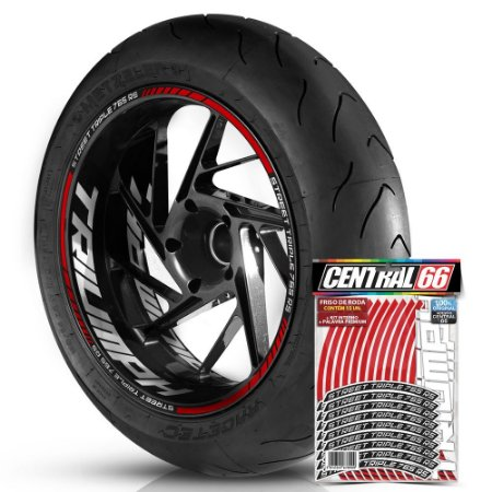 Adesivo Friso de Roda M1 +  Palavra STREET TRIPLE 765 RS + Interno G Triumph - Filete Vermelho Refletivo