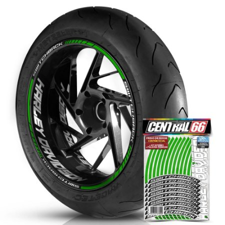 Adesivo Friso de Roda M1 +  Palavra SWITCHBACK + Interno G Harley Davidson - Filete Verde Refletivo