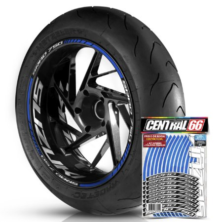 Adesivo Friso de Roda M1 +  Palavra SRAD 750 + Interno G Suzuki - Filete Azul Refletivo