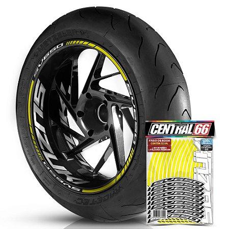 Adesivo Friso de Roda M1 +  Palavra SV650 + Interno G Suzuki - Filete Amarelo