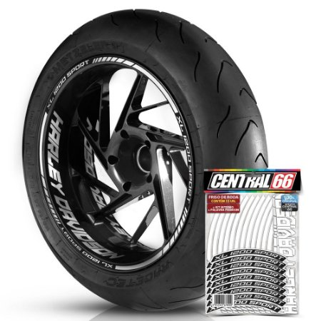 Adesivo Friso de Roda M1 +  Palavra XL 1200 SPORT + Interno G Harley Davidson - Filete Branco