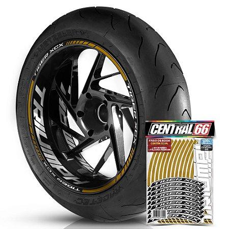 Adesivo Friso de Roda M1 +  Palavra TIGER XCX + Interno G Triumph - Filete Dourado Refletivo