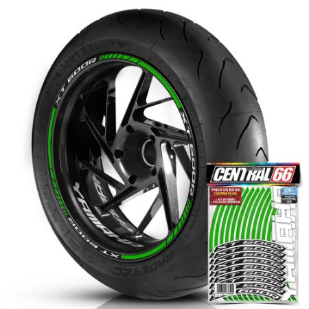 Adesivo Friso de Roda M1 +  Palavra XT 600R + Interno P Yamaha - Filete Verde Refletivo