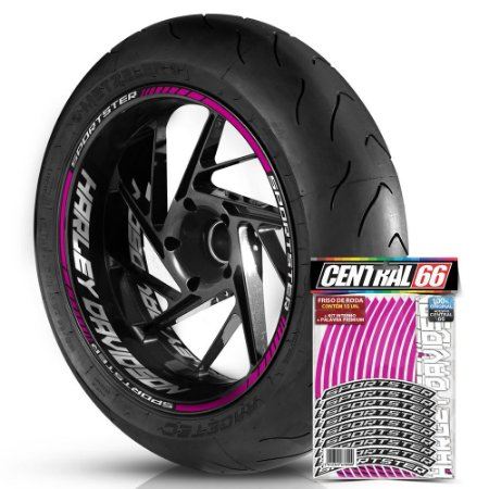 Adesivo Friso de Roda M1 +  Palavra SPORTSTER + Interno G Harley Davidson - Filete Rosa