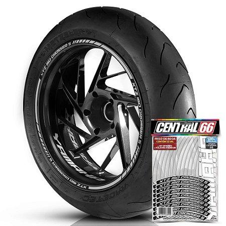 Adesivo Friso de Roda M1 +  Palavra XTZ 150 CROSSER S + Interno P Yamaha - Filete Prata Refletivo