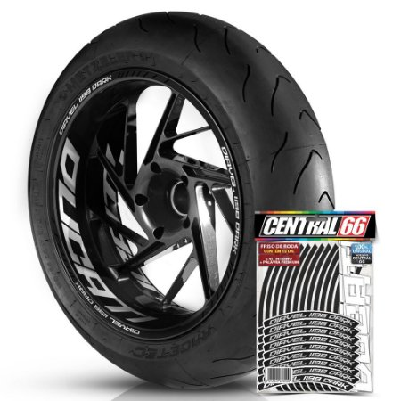 Adesivo Friso de Roda M1 +  Palavra DIAVEL 1198 DARK + Interno G Ducati - Filete Preto