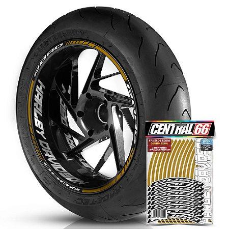 Adesivo Friso de Roda M1 +  Palavra ROAD + Interno G Harley Davidson - Filete Dourado Refletivo