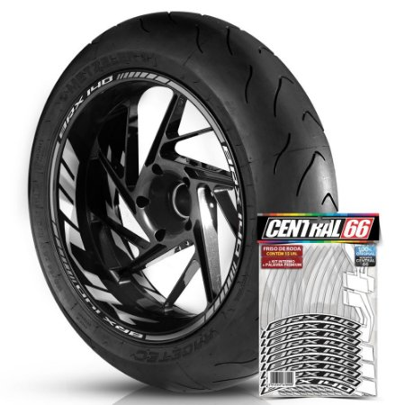 Adesivo Friso de Roda M1 +  Palavra BRX 140 + Interno G MVK - Filete Prata Refletivo