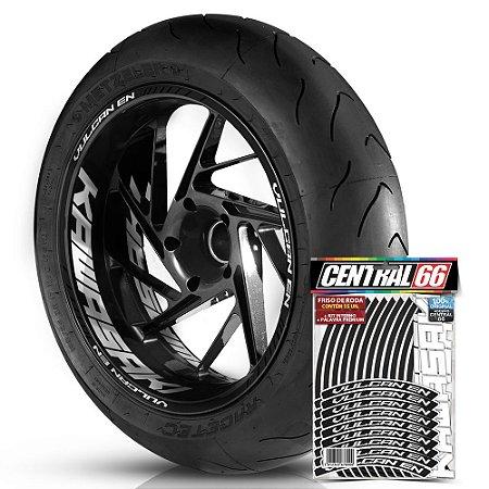 Adesivo Friso de Roda M1 +  Palavra VULCAN EN + Interno G Kawasaki - Filete Preto