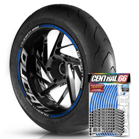 Adesivo Friso de Roda M1 +  Palavra DUCATI 1198 + Interno G Ducati - Filete Azul Refletivo