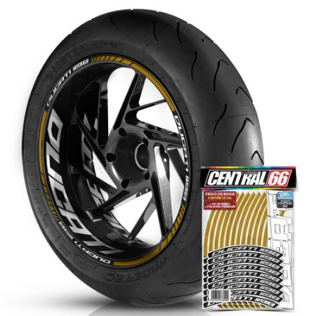 Adesivo Friso de Roda M1 +  Palavra DUCATI 1198 + Interno G Ducati - Filete Dourado Refletivo
