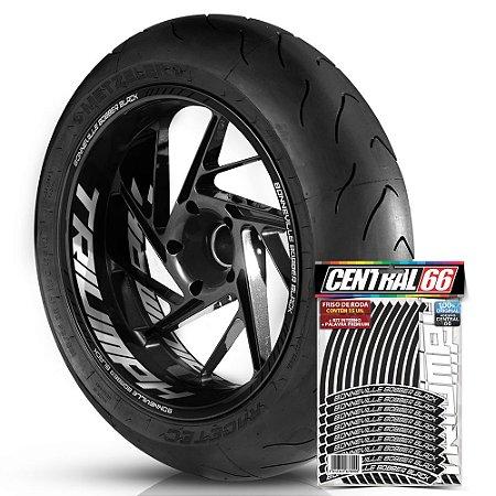Adesivo Friso de Roda M1 +  Palavra BONNEVILLE BOBBER BLACK + Interno G Triumph - Filete Preto