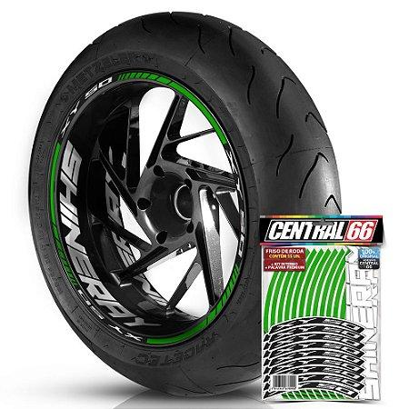 Adesivo Friso de Roda M1 +  Palavra XY 50 + Interno G Shineray - Filete Verde Refletivo