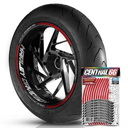 Adesivo Friso de Roda M1 +  Palavra HARLEY DAVIDSON FAT + Interno G Harley Davidson - Filete Vermelho Refletivo