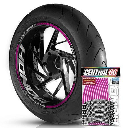 Adesivo Friso de Roda M1 +  Palavra CBR 1000 RR FIREBLADE SP + Interno G Honda - Filete Rosa