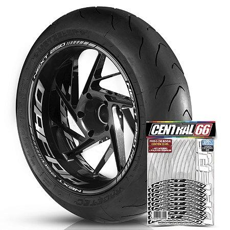 Adesivo Friso de Roda M1 +  Palavra NEXT 250 + Interno G Dafra - Filete Prata Refletivo
