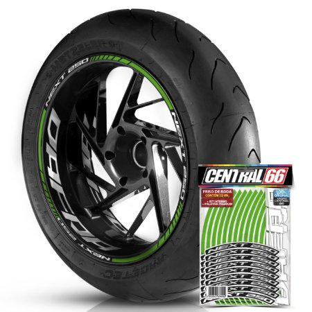 Adesivo Friso de Roda M1 +  Palavra NEXT 250 + Interno G Dafra - Filete Verde Refletivo