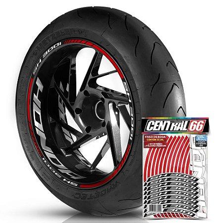 Adesivo Friso de Roda M1 +  Palavra SH 300i + Interno G Honda - Filete Vermelho Refletivo
