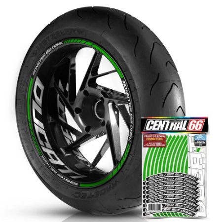 Adesivo Friso de Roda M1 +  Palavra MONSTER 821 DARK + Interno G Ducati - Filete Verde Refletivo