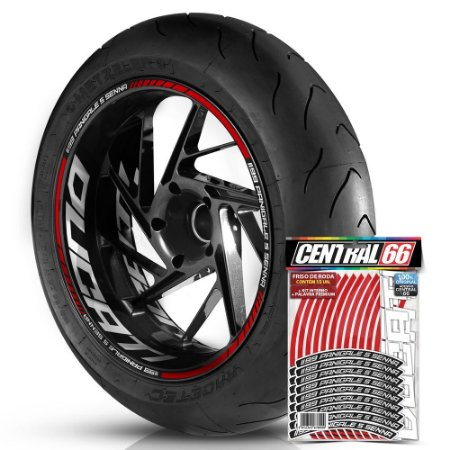 Adesivo Friso de Roda M1 +  Palavra 1199 PANIGALE S SENNA + Interno G Ducati - Filete Vermelho Refletivo
