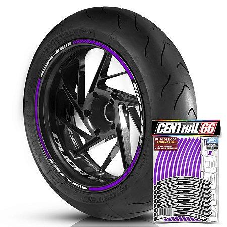 Adesivo Friso de Roda M1 +  Palavra 848 + Interno P Ducati - Filete Roxo