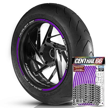 Adesivo Friso de Roda M1 +  Palavra AVAJET 100 + Interno P Kawasaki - Filete Roxo